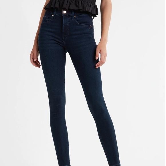 EXPRESS Mid Rise Dark Wash Skinny Jeans 6L